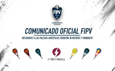 COMUNICADO OFICIAL FIPV: Referente a las paletas sintéticas en Frontón 30M y Trinquete