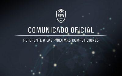 COMUNICADO OFICIAL FIPV: Referente a las próximas competiciones