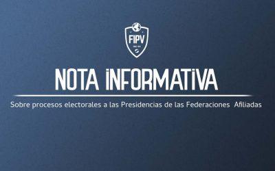 Sobre procesos electorales a las Presidencias de las Federaciones Afiliadas